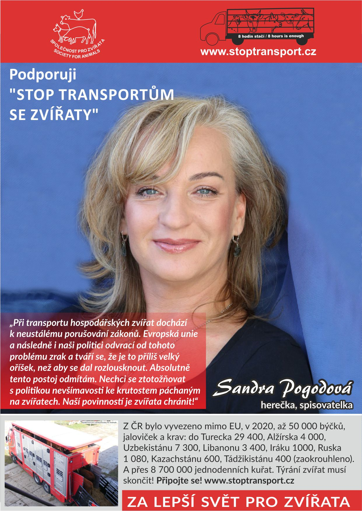 Sandra Pogodová - Stop transportům se zvířaty